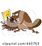 Royalty Free RF Clip Art Illustration Of A Cartoon Defensive Beaver Guarding His Stick Pile