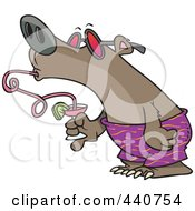Royalty Free RF Clip Art Illustration Of A Cartoon Summer Bear Drinking A Beverage Through A Twisty Straw