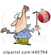 Royalty Free RF Clip Art Illustration Of A Cartoon Man Waiting To Ring A Bell