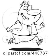 Royalty Free RF Clip Art Illustration Of A Cartoon Black And White Outline Design Of A Female Bear Jogging