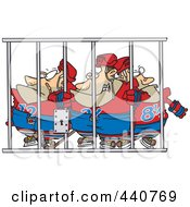 Cartoon Team Of Hockey Players Behind Bars