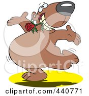 Royalty Free RF Clip Art Illustration Of A Cartoon Bear Dancing With A Flower In His Teeth