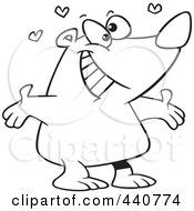 Royalty Free RF Clip Art Illustration Of A Cartoon Black And White Outline Design Of A Bear Standing With Open Arms