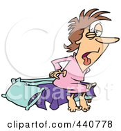 Royalty Free RF Clip Art Illustration Of A Cartoon Tired Woman Waking Up