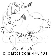 Royalty Free RF Clip Art Illustration Of A Cartoon Black And White Outline Design Of A Rhino Wearing A Tight Belt