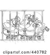 Cartoon Black And White Outline Design Of A Team Of Hockey Players Behind Bars