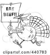 Royalty Free RF Clip Art Illustration Of A Cartoon Black And White Outline Design Of A Turkey With An Eat Beef Sign