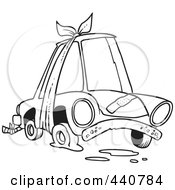 Royalty Free RF Clip Art Illustration Of A Cartoon Black And White Outline Design Of A Beater Car With Bandages And Flat Tire