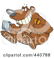 Royalty Free RF Clip Art Illustration Of A Cartoon Bear Sitting With A Hot Dog And Beer by toonaday