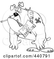 Royalty Free RF Clip Art Illustration Of A Cartoon Black And White Outline Design Of A Bulldog Carrying A Beware Of Dog Sign