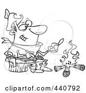 Royalty Free RF Clip Art Illustration Of A Cartoon Black And White Outline Design Of A Cowboy Baking Beans Over A Camp Fire by toonaday