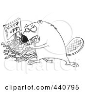 Royalty Free RF Clip Art Illustration Of A Cartoon Black And White Outline Design Of A Defensive Beaver Guarding His Stick Pile by toonaday
