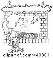 Royalty Free RF Clip Art Illustration Of A Cartoon Black And White Outline Design Of A Christmas Girl Waiting For Santa At The Fire Place
