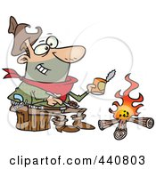 Royalty Free RF Clip Art Illustration Of A Cartoon Cowboy Baking Beans Over A Camp Fire by toonaday