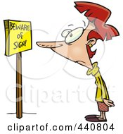 Royalty Free RF Clip Art Illustration Of A Cartoon Woman Staring At Beware Of Sign Text On A Board