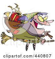 Royalty Free RF Clip Art Illustration Of A Cartoon Befana Witch Flying With Gifts by toonaday