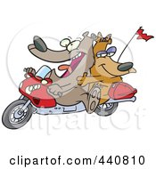 Royalty Free RF Clip Art Illustration Of A Cartoon Bear Couple On A Motorcycle by toonaday
