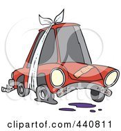 Royalty Free RF Clip Art Illustration Of A Cartoon Beater Car With Bandages And Flat Tire