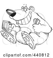 Royalty Free RF Clip Art Illustration Of A Cartoon Black And White Outline Design Of A Bear Sitting With A Hot Dog And Beer by toonaday