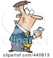 Royalty Free RF Clip Art Illustration Of A Cartoon Businessman Using A Smart Phone by toonaday