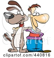 Royalty Free RF Clip Art Illustration Of A Cartoon Man And Dog Standing Together