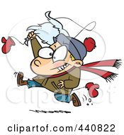 Royalty Free RF Clip Art Illustration Of A Cartoon Boy Snatching Santas Beard