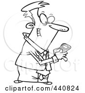 Royalty Free RF Clip Art Illustration Of A Cartoon Black And White Outline Design Of A Businessman Using A Smart Phone by toonaday
