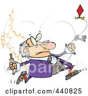 Royalty Free RF Clip Art Illustration Of Ben Franklin Running With A Kite by toonaday