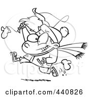 Royalty Free RF Clip Art Illustration Of A Cartoon Black And White Outline Design Of A Boy Snatching Santas Beard