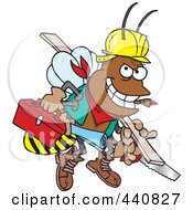 Poster, Art Print Of Cartoon Worker Bee Carrying Tools