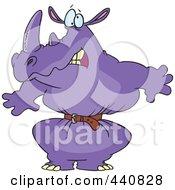 Royalty Free RF Clip Art Illustration Of A Cartoon Rhino Wearing A Tight Belt