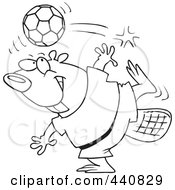 Royalty Free RF Clip Art Illustration Of A Cartoon Black And White Outline Design Of A Soccer Beaver by toonaday