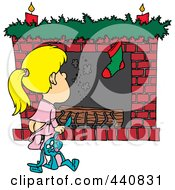 Royalty Free RF Clip Art Illustration Of A Cartoon Christmas Girl Waiting For Santa At The Fire Place