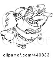 Royalty Free RF Clip Art Illustration Of A Cartoon Black And White Outline Design Of A Chubby Belly Dancer by toonaday