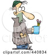Royalty Free RF Clip Art Illustration Of A Cartoon Poor Man Begging With A Pencil Cup by toonaday