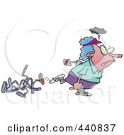 Royalty Free RF Clip Art Illustration Of A Cartoon Mad Female Golfer Walking Away From Bent Clubs