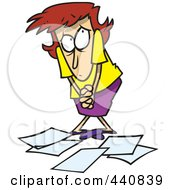 Royalty Free RF Clip Art Illustration Of A Cartoon Berated Businesswoman Standing Over Papers by toonaday