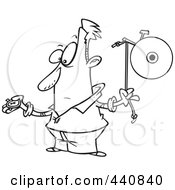 Royalty Free RF Clip Art Illustration Of A Cartoon Black And White Outline Design Of A Man Waiting To Ring A Bell