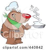 Cartoon Bear Chef Holding A Frying Pan