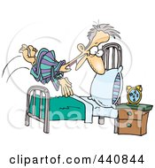 Royalty Free RF Clip Art Illustration Of A Cartoon Man Diving Into Bed by toonaday