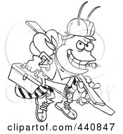 Royalty Free RF Clip Art Illustration Of A Cartoon Black And White Outline Design Of A Worker Bee Carrying Tools by toonaday
