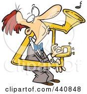 Cartoon Man Playing A Bent Sousaphone