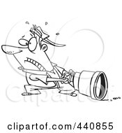 Royalty Free RF Clip Art Illustration Of A Cartoon Black And White Outline Design Of A Man Pulling A Big Lens by toonaday