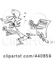 Royalty Free RF Clip Art Illustration Of A Cartoon Black And White Outline Design Of A Bill Chasing A Woman