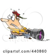 Royalty Free RF Clip Art Illustration Of A Cartoon Man Pulling A Big Lens by toonaday