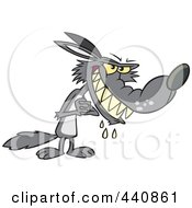 Royalty Free RF Clip Art Illustration Of A Cartoon Big Bad Wolf Drooling by toonaday