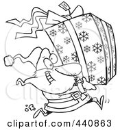 Royalty Free RF Clip Art Illustration Of A Cartoon Black And White Outline Design Of Santa Running And Carrying A Large Gift