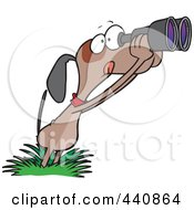Royalty Free RF Clip Art Illustration Of A Cartoon Bird Dog Using Binoculars