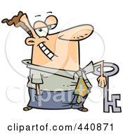 Royalty Free RF Clip Art Illustration Of A Cartoon Businessman Leaning On A Big Key