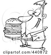 Royalty Free RF Clip Art Illustration Of A Cartoon Black And White Outline Design Of A Man Holding A Big Burger